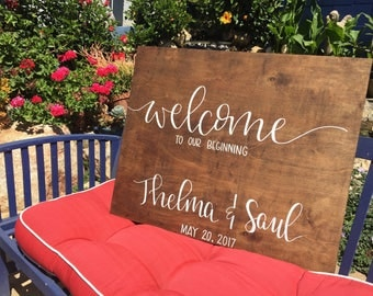 Wedding Welcome Sign, Custom Wedding Sign, Wood Wedding Welcome Sign