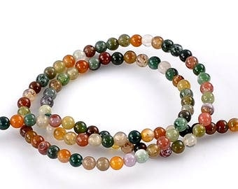 40 (originally Brazil) agate beads, natural colors mixed tones natural 4mm rounds