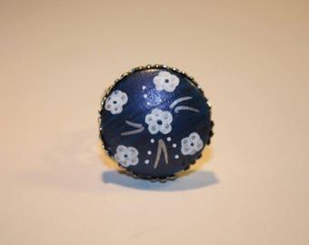 "Ring ""Laurette"" dark blue Fleur"