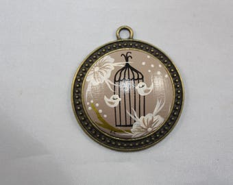 """Pendant """"Laurette"""" ash Brown and the bird cage"""
