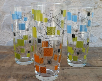 Large screen printed glasses colored - glass shapes geometric color mustard-orange-blue vintage