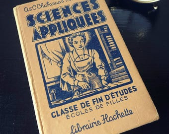 """Science"" book - Manuel school education for vintage girl - french school book"