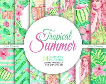 SALE 50% OFF Summer, Tropical, Vacation, Summer Girls Digital Paper, Watercolor Seamless Pattern, Exotic, Palm Leaves, Hibiscus, Planner Sti