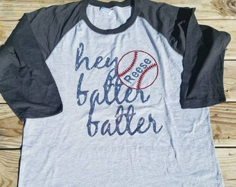 Hey Batter Batter, Hey Batter Batter Raglan, Baseball Shirt, Baseball Raglan, Softball Shirt, Softball Tshirt, Softball Raglan
