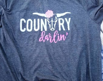 Country darlin, Simply Southern, Southern Girl, Country Darlin Shirt, southern girl shirts, southern girls, simply southern, Short Sleeve