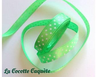 1 meter Ribbon satin green polka dots width 9 mm