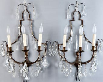 Pair French Delicate Bronze and Crystal Three Light Sconces [2925]