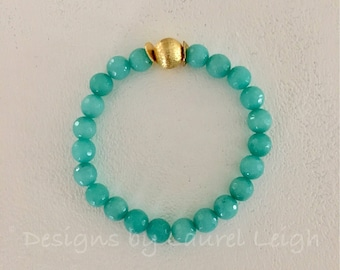 GOLD and AQUA Jade Beaded Bracelet | turquoise, gemstone, gold plated, stretchy, Designs by Laurel Leigh