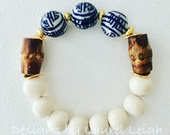 Blue and White Beaded Bracelet | Chinoiserie, bamboo, gold, stretchy, Designs by Laurel Leigh