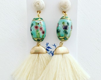 IVORY and AQUA Tassel Earrings | off white, turquoise, fan, fringe, vintage, cloisonné, floral, chinoiserie, post, posts