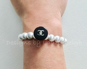 SILVER and BLACK Beaded Bracelet | Designer, stretchy, Designs by Laurel Leigh