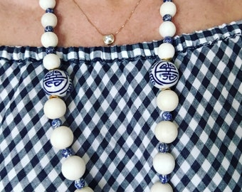 Chinoiserie Beaded Necklace | chunky, blue and white, gold, long, Designs by Laurel Leigh