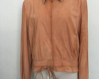 Carolina Herrera jacket from real suede soft suede steep jacket modern jacket short jacket vintage retro light orange women's size-medium.