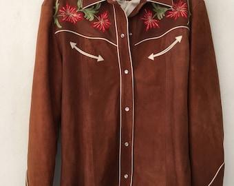 Western style jacket , brown suede woman jacket size medium .
