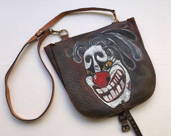 """Halloween style dark brown designer bag real leather soft leather bag has unique printed picture - """"Clown face"""" new collection size-medium."""