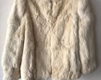 White rabbit fur coat  woman size medium .
