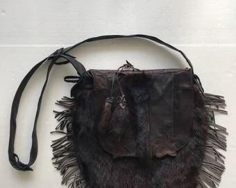 Hand made real fur shoulder bag , designer leather bag .