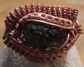 moldavite wire wrap ring in copper size 8.5