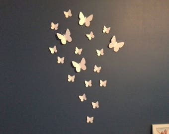 White set of 3D butterflies wall decor