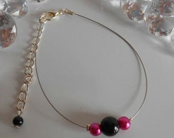Simplicity fuchsia wedding bracelet and black