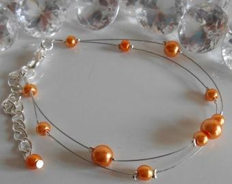 Bracelet wedding 2 row Orange bronze pearls