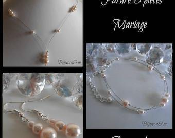 Set of 3 wedding pieces light pink pearls cascade