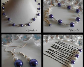 Set of 4 wedding pieces twist of purple and white beads