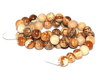 30, 50 or 100 Pearl Jasper 6 mm or 8 mm natural (beige, Brown shades) - Ref: 2205 / 2206