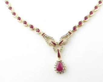 Vintage 14 Karat Yellow Gold Ruby and Diamond Necklace #2985