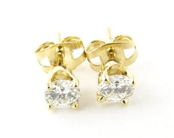 Vintage 14 Karat Yellow Gold Diamond Stud Earrings #3103