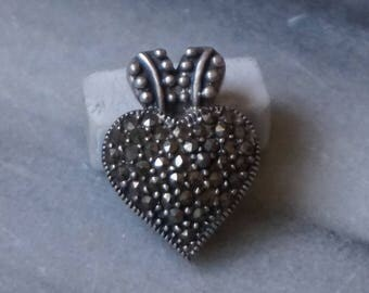 Marcasite, Silver, Pendant, Heart,