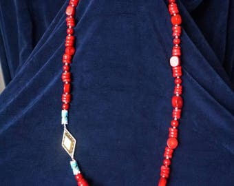 Gorgeous Red Coral necklace 78cm long with Silver Lock 925, Stamped CN