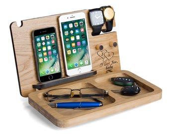 Docking station for 2 Phones, Men's gift, personalized, Iphone 7, Iphone 7 plus, android docking station, desk organizer, anniversary gift