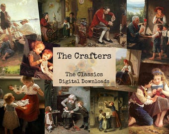 The Crafters - Digital Ephemera Classics, Digital Images, Vintage Art, Instant Download, Digital Paper, Digital Collage, Digital Art