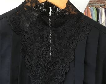 Vintage Seventies 1970s Black Victorian Blouse. Size Medium to Large.