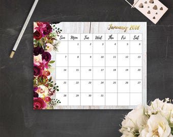January Calendar Planner Instant Download PDF Printable Calendar January 2018 Monthly Planner 2018 Printable Bohemian Calendar Boho Calendar