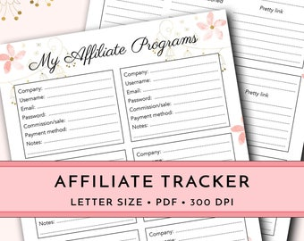 Affiliate planner, affiliate link tracker, affiliate program organizer, affiliate income tracker, affiliate marketing, blog planner