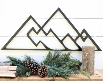 Geometric Mountains wall hanging | Geometric woodland theme mountain decor| Mountain range wall decor available in 3 sizes
