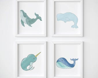 Nautical Bathroom Art Print Set Of 4   Ocean Bathroom Art Including  Humpback Whale, Narwhal