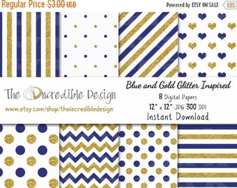 ON SALE Blue and Gold Glitter Inspired digital paper pack for scrapbooking, Making Cards, Tags and Invitations, Instant Download
