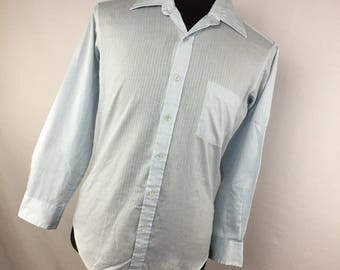 Sears The Mens Store Dress Shirt Light Blue 15 33 Perma Prest Button Down Front Wide Collar Long Sleeve M1