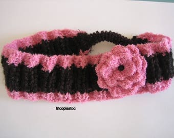 Black/Pink headband handknitted mohair wool and Terry, adult, child