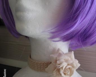 Necklace, romantic Choker, ecru, crocheted soft cotton, choose white or pink detachable flower