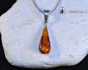 Baltic Amber teardrop pendant - golden brown - LO7