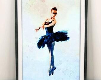 Ballerina Wall Art, Ballerina Print, Ballerina Poster, Ballet Print, Home Decor, Girl Room Decorations, Gift For Dancer, Bedroom Art (N406)