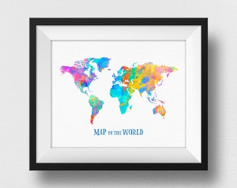 Map Of The World Poster, Watercolour World Map Print, World Map Wall Art Decor, Home Decor, World Map Painting, Kids Room  (701)