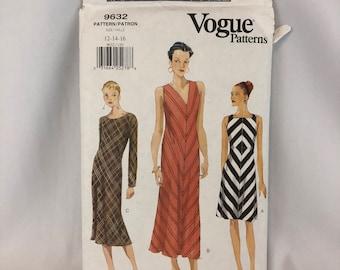 Vogue Sewing Pattern 9632 Misses Dress Size 12 14 16 Plus Size Vintage