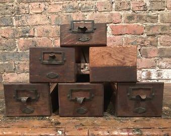 Industrial Yawman and Erbe Oak Index Filer Drawers Antique Desk Storage Salvage