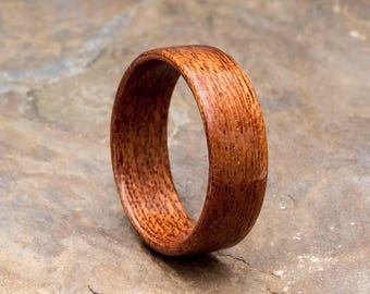 Wooden Ring made from Sapelle - unique bentwood ring made to order. Natural alternative wedding or engagement bands for nature lovers