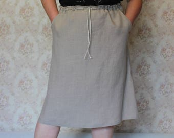 Linen Woman Skirt,Linen Midi skirt,Summer skirt, Linen clothing,Linen Skirt, Skirt with pockets, Natural linen skirt,Handmade linen skirt